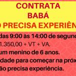 CONTRATA-SE BABÁ PARA CRIANÇA DE 6 ANOS – MEIO PERÍODO DE SEGUNDA À SEXTA – SALÁRIO + BENEFÍCIOS